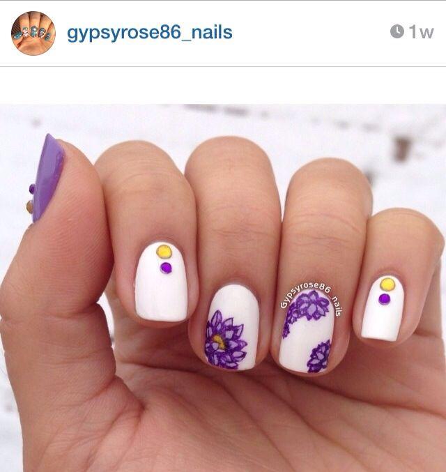 Purple lotus flower nails | Nails | Pinterest | Flower nails, Nails ...