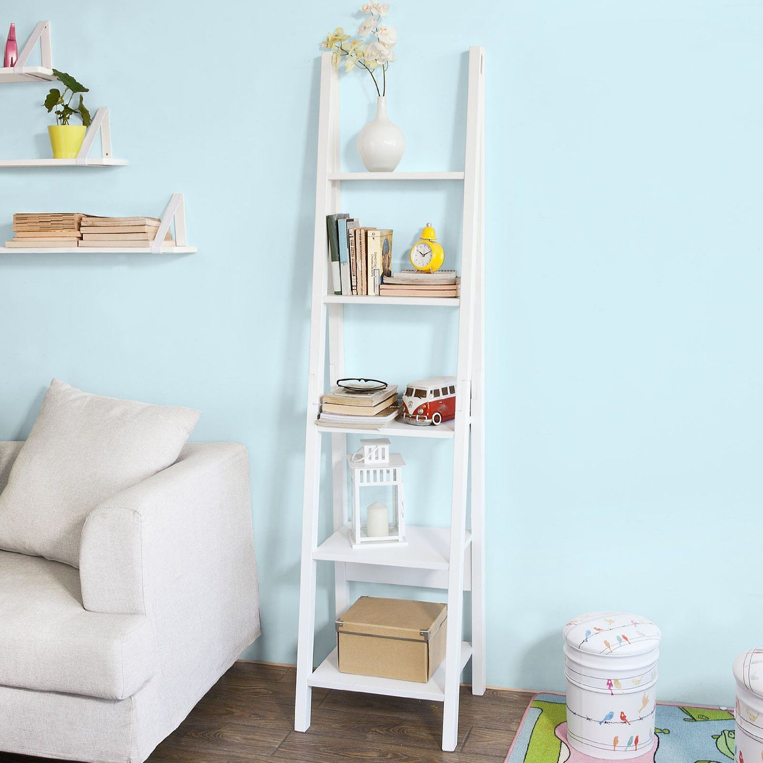 Sobuy Home Wood Storage Rack Display Wall Shelves Bookcase White