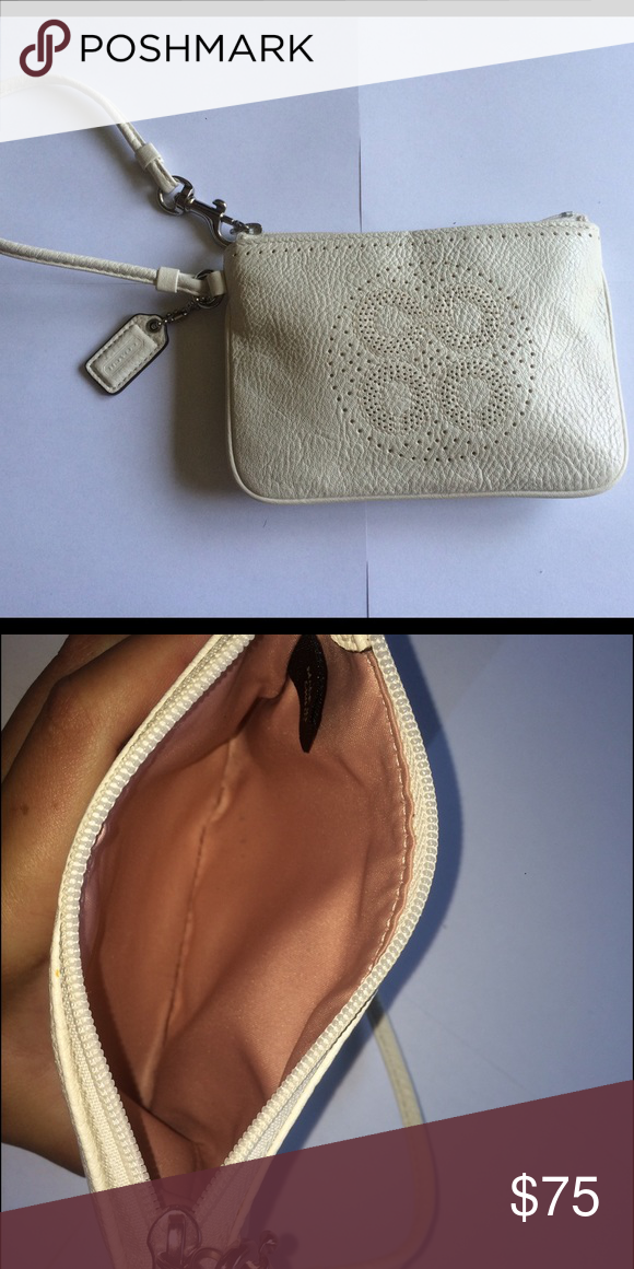 White Coach Wristlet White Coach wristlet in great condition never used. Coach Bags Clutches & Wristlets