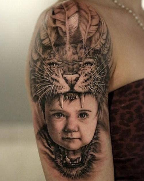 693066b6c Baby wearing animal, Jaguar, headdress tattoo | Tattoos入れ墨 ...