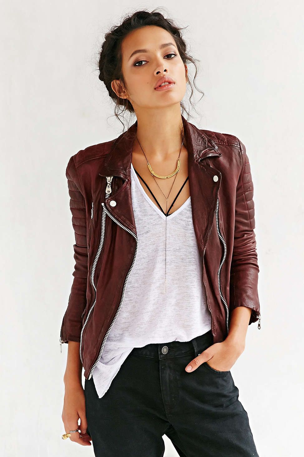 Doma Oxblood Quilted Leather Jacket Leather jacket
