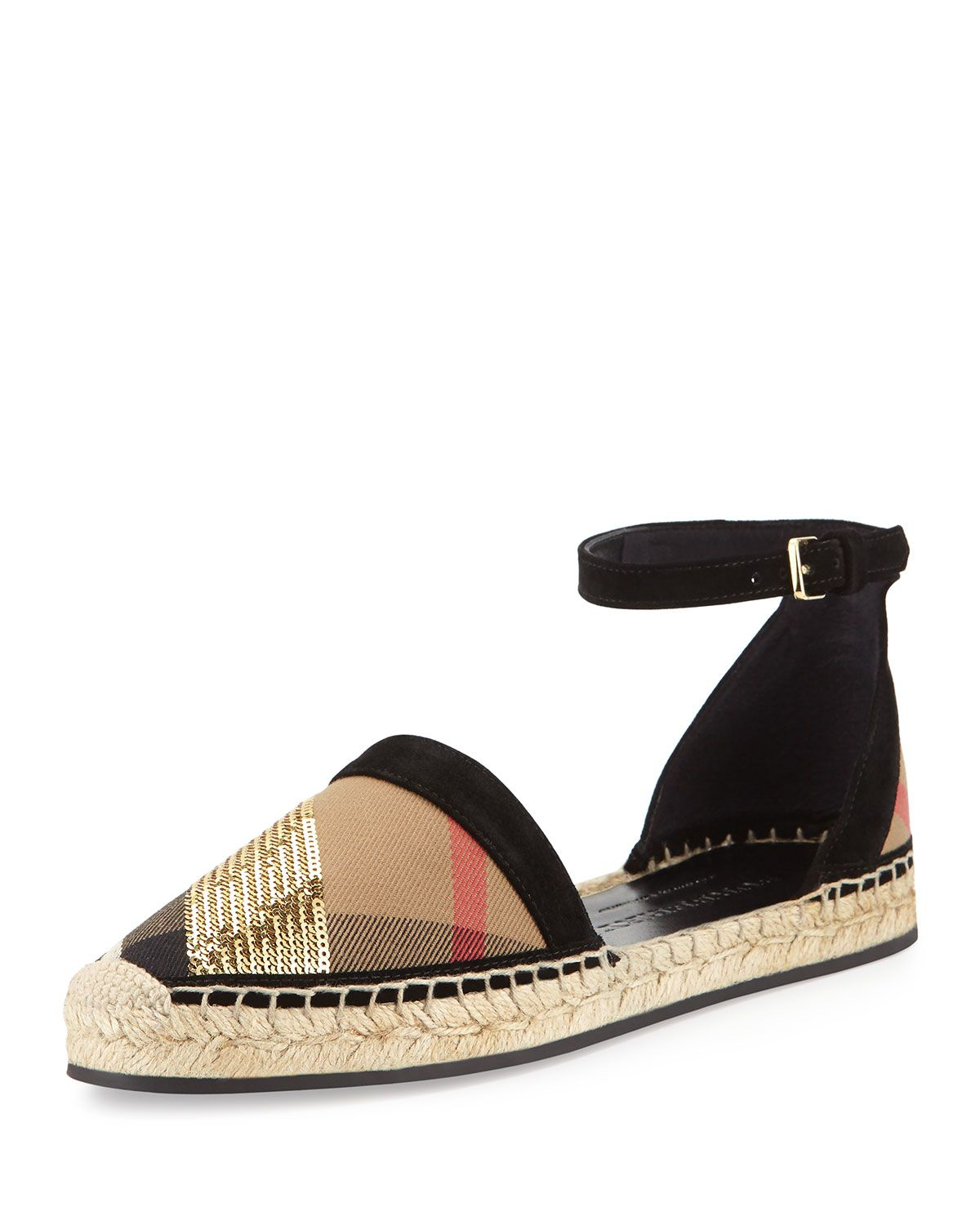 Burberry Abbingdon Sequined Check Espadrille Flat Sandal be74eaf4ea9