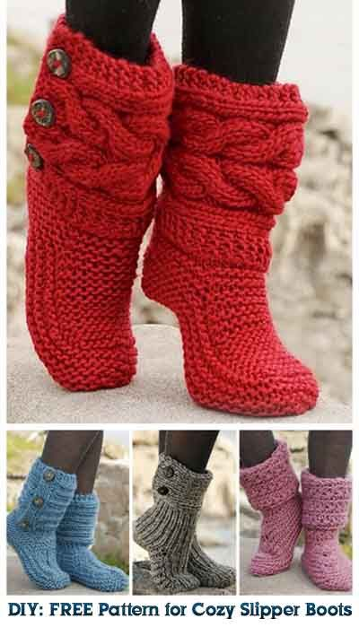 Cathy DIY: FREE Pattern for Cozy Slipper Boots | tejidos | Pinterest ...