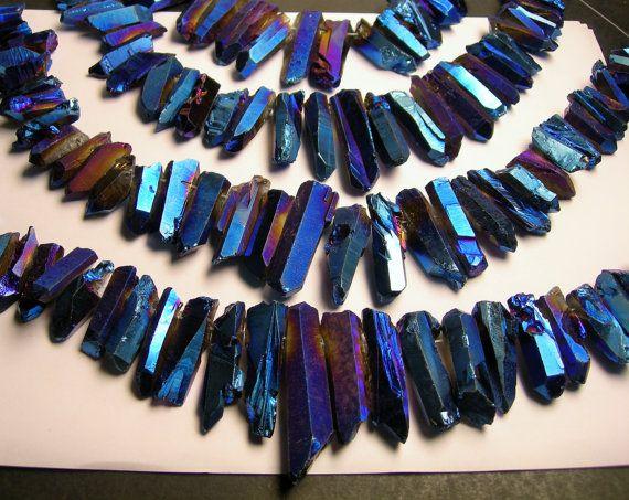 Quartz Blue mystic rainbow crystal points top by fallinlovegems