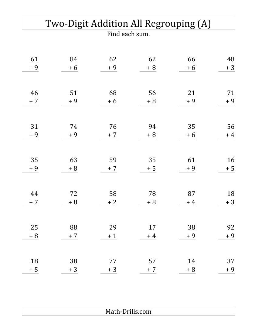 Worksheet What Is Regrouping In Math adding and subtracting two digit numbers no regrouping a the plus addition with all math worksheet from page at