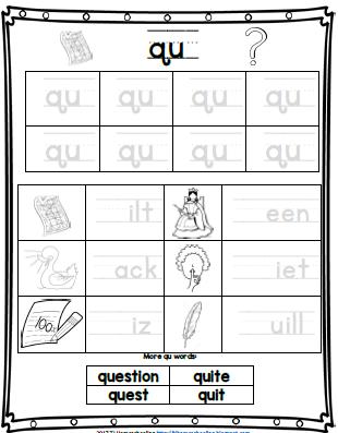 Qu Digraph Worksheet Phonics Worksheets Digraph Phonics Activities
