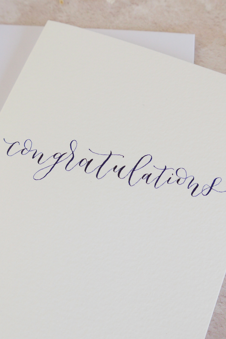 Custom Wedding Congratulations Card Personalized Calligraphy Name