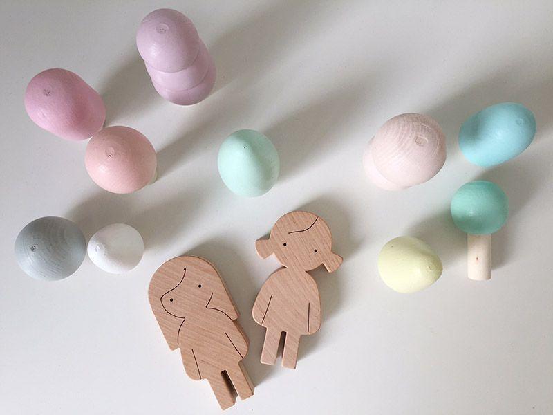 Houten speelgoedfiguurtjes handgemaakt design voor kids houten