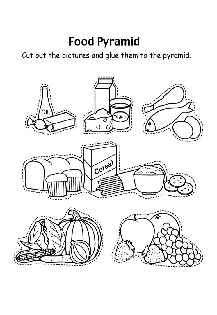 Food Worksheets For Preschoolers : Food pyramid with fruit and other coloring pages