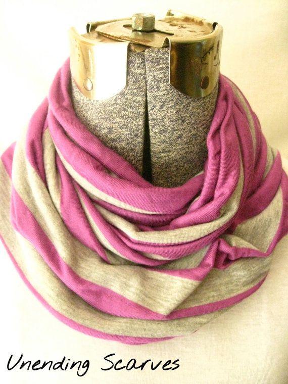 strips jersey knit infinity scarf- purple, gray, stripes, jersey knit, scarf, circle scarf, free shipping #etsy  #etsyretwt