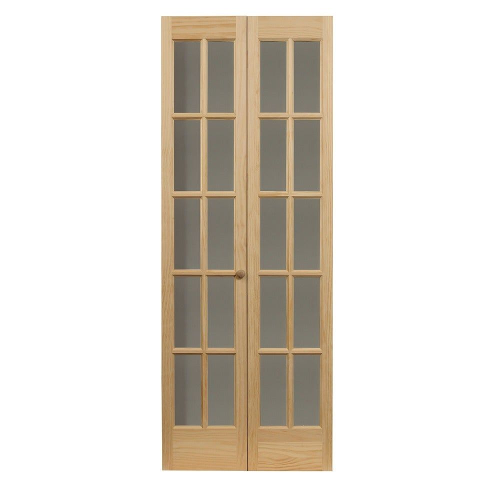Traditional Divided Glass 32x80 5 Inch Unfinished Bifold Door 527 Divided Glass 32 X 80 1 2 Unfinished Bifold Brown In 2020 Bifold Door Hardware Wood Doors French Doors