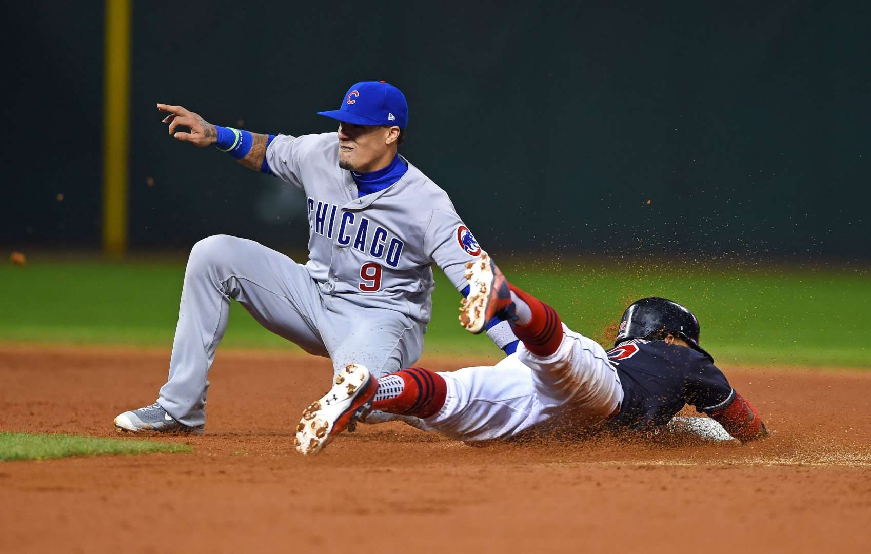 Tag In Time Chicago Cubs Second Baseman Javier Baez Left Tags Out Cleveland Indians Shortstop Francisco Lindor O Chicago Cubs Cleveland Indians World Series