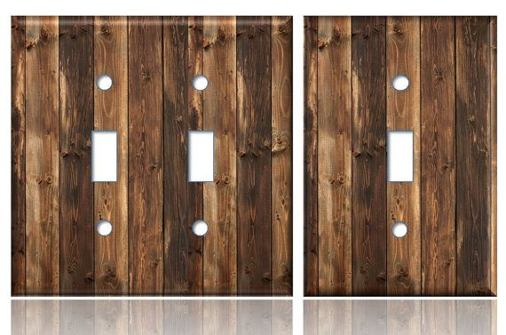 Rustic Wood Planks Light Switch Plate Cover Dark Brown Same Day Shipping