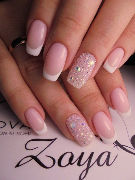 Accurate Nails Beige And White Body Exquisite French Manicure Ideas 2017 With Rhinestones Of Natural