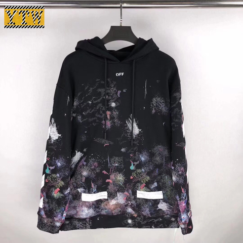 Off White Galaxy Brushed Hoodie Pullover Is Made From Black Cotton That Has A Crew Neck Relaxed Fit Long Sleeves Thick Elast Hoodies Fashion Black Cotton