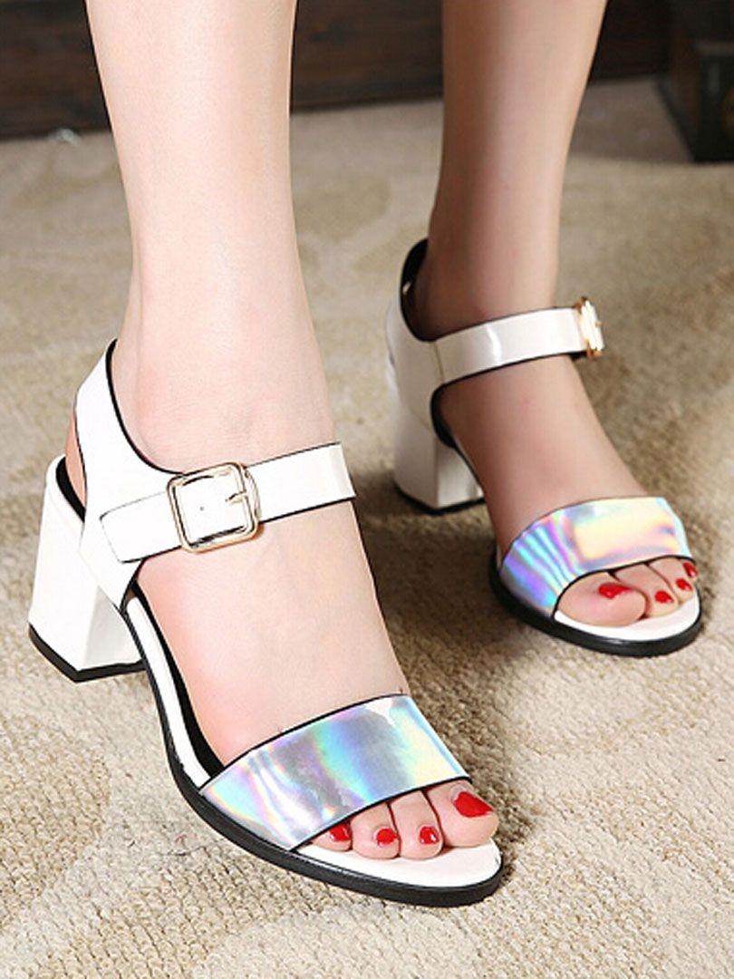 White Laser Detail Heeled Sandals   Choies