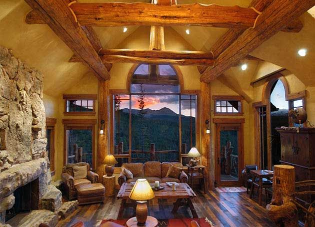 Log Home Interiors | Hybrid Log Home Interior