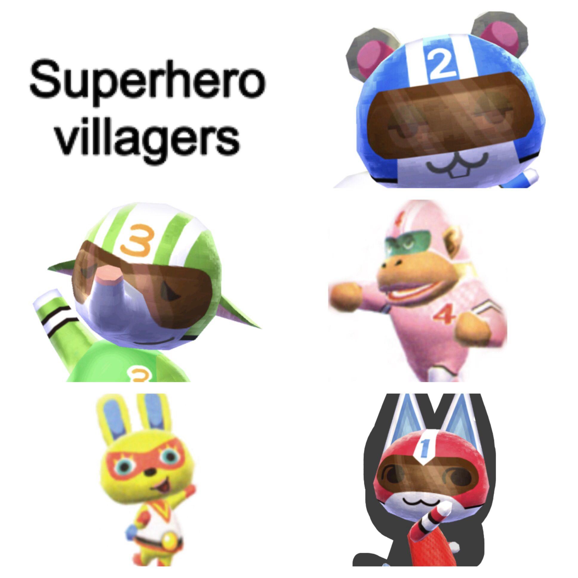 Superhero Villagers Agent S Rocket Mira Big Top And Kid Cat Animal Crossing Superhero Mario Characters