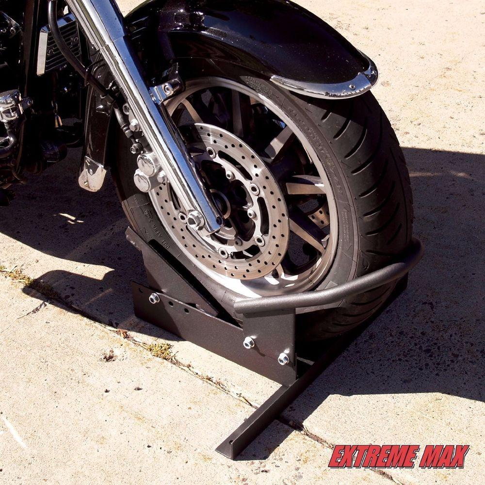 Motorcycle Stand Chock Bike Storage Garage Parking Trailer Hauling Steel Motorcycle Wheels