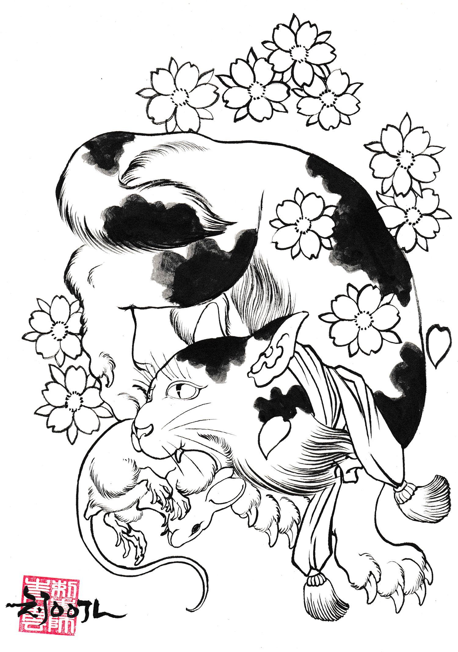 картинки тату кошки собаки ромашковидных хризантем