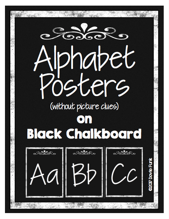 Black and white chalkboard alphabet letter posters italics