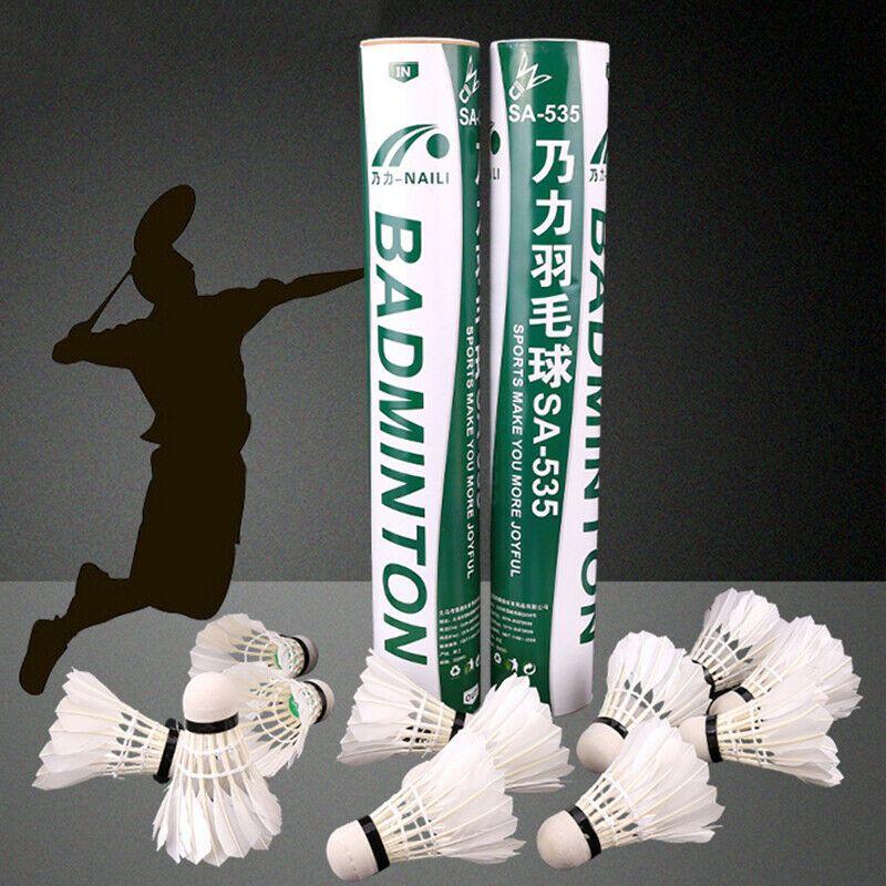 Advertisement(eBay) White Badminton 12 PCS/Pack Goose Feather Wood