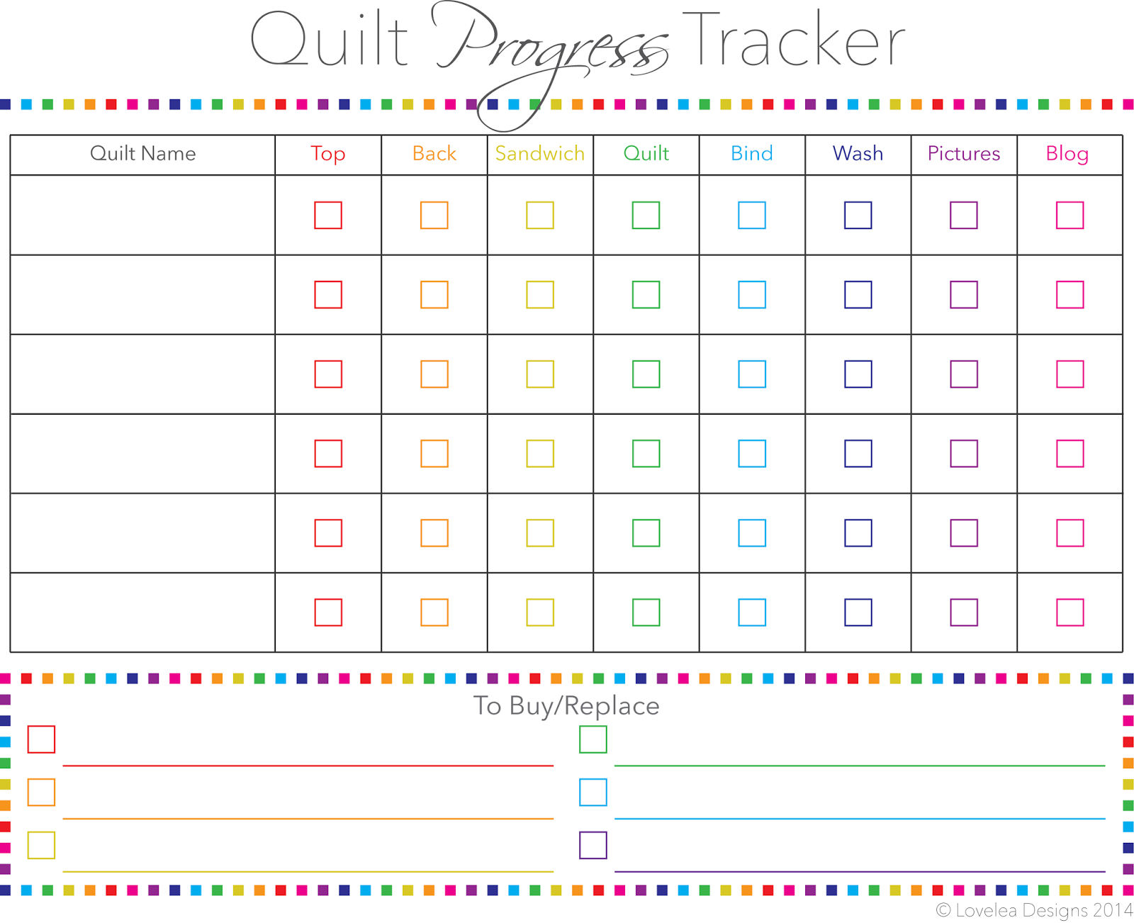Quilt Progress Tracker Free Printable - such a cool idea ...