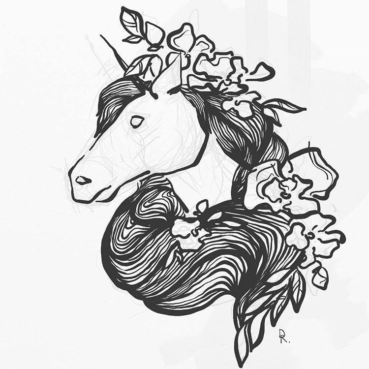 ловите ещё монохромную, зря красила, по-моему #bw #night #inspiration #doodle #illustrations #art #drawing #artwork #sketch #digitalart #digital #animals #horse #unicorn #flowers #tatoostyle #process #lines #belinsta #deerroe