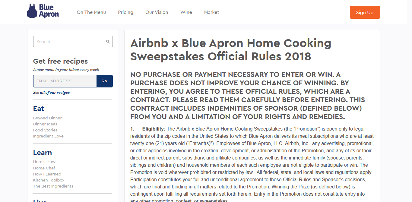 Airbnb x Blue Apron Home Cooking Sweepstakes Official Rules