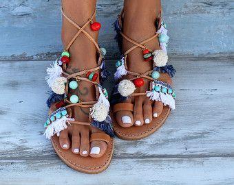 Fringed blue leather Greek sandals sandales femme embellished sandals sandales franges decorated sandals,womens sandals,sandales cuir