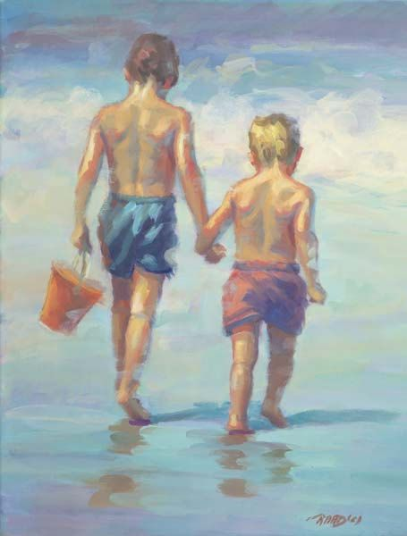 Like Brothers Beach Shore Signed Numbered Limited Edition Raad Free Shipping Fathers Day Beach Art Beach Canvas Beach Scenes