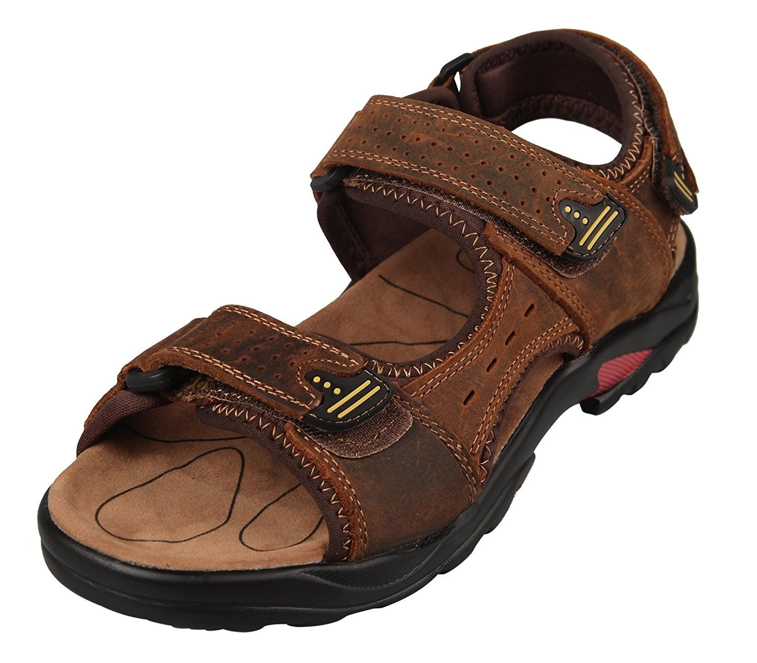 Men's Sport Sandals Leather Water Sandal Outdoor Shoes - Brown Color -  C412HZHEIY1   Best walking sandals, Walking sandals, Leather sandals