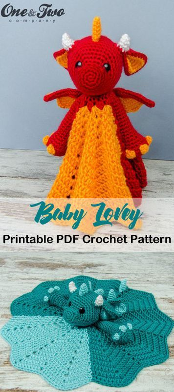 Make a cute dragon lovey. Baby Lovey Crochet Patterns - Cute Gifts - A More Crafty Life #baby #babygift #crochet #crochetpattern #cutecrochet