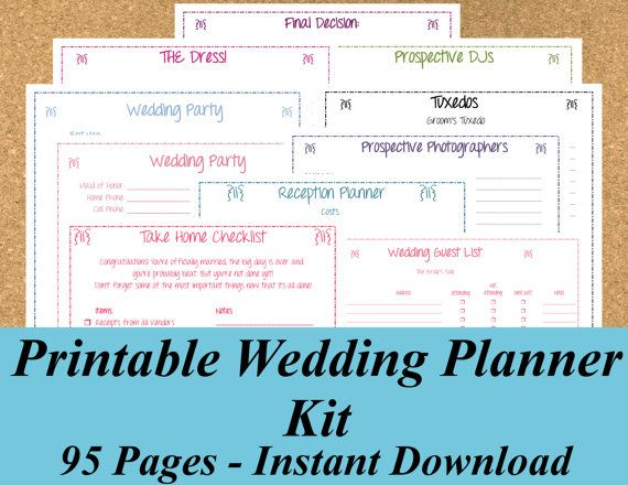 Instant Ultimate Printable Wedding Planner Kit 95 Pages On Etsy 15 00