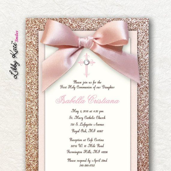 Rose Gold First Communion Invitation Girl First Holy Communion