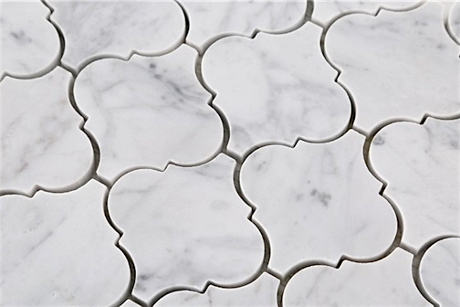 16 95 Carrara Bianco Honed Arabesque Marble Mosaic Tile