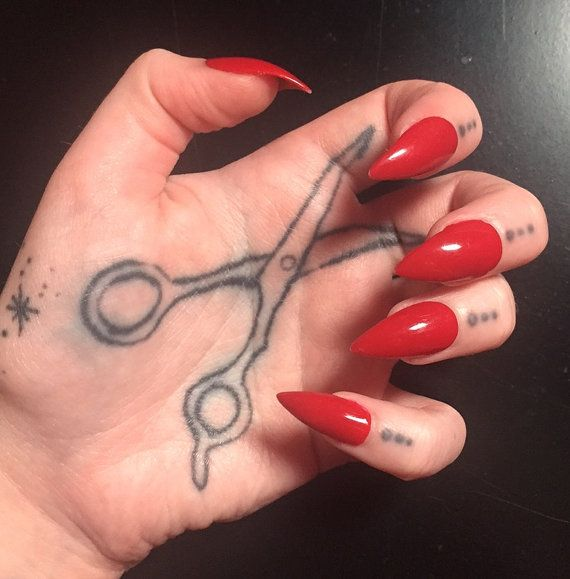 Red Stiletto Nails  Full Set by ClawsByMorganJoyce on Etsy