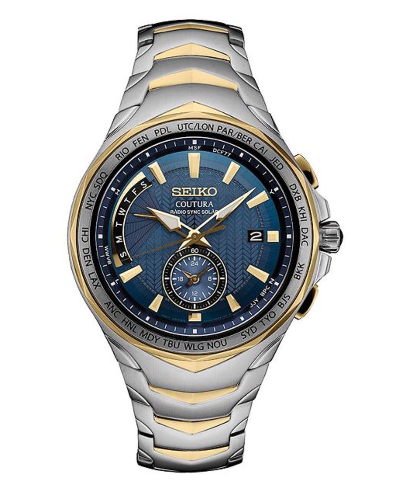 Seiko Men s Coutura Two Tone Stainless Steel Radio Sync Solar Watch SSG020   f0e402b29bc