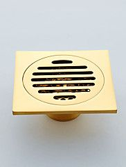 Gold-Plated+finishing+Brass+Square+Fish+Floor+Drain+Shower+Waste+Grate+Strainer+Assembly+–+USD+$+26.99