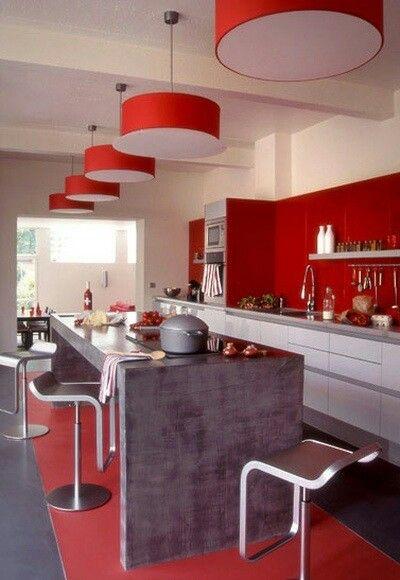 Rojo Y Gris Hermoso Ideas De Decoracion De Cocina Decoracion De Cocina Diseno De Cocina