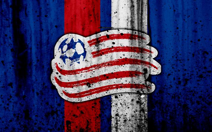 Lataa kuva 4k, FC New England Revolution, grunge, MLS, art, Itäisen Konferenssin, football club, USA, New England Revolution, jalkapallo, kivi rakenne, logo, New England Revolution FC