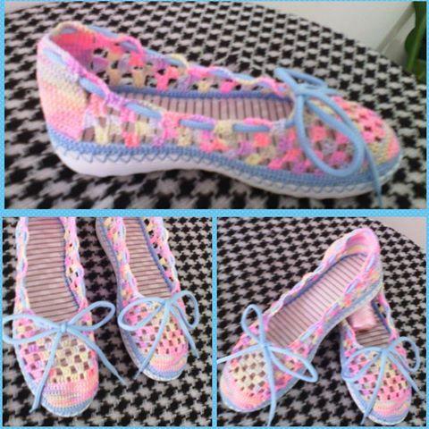 aef5882d Zapato tejido en Crochet. Totalmente hecho a mano. Calzado para dama,  cómodo y bonito.