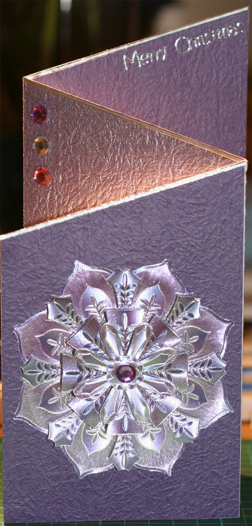 Zigzag card - crinkle foil, Dufex decoupage and gemstones.