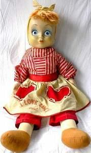 """1952 American Character I Love Lucy Lucille Ball doll, 28""""  http://www.dollreference.com/images/love_lucy26ideal50s.jpg"""