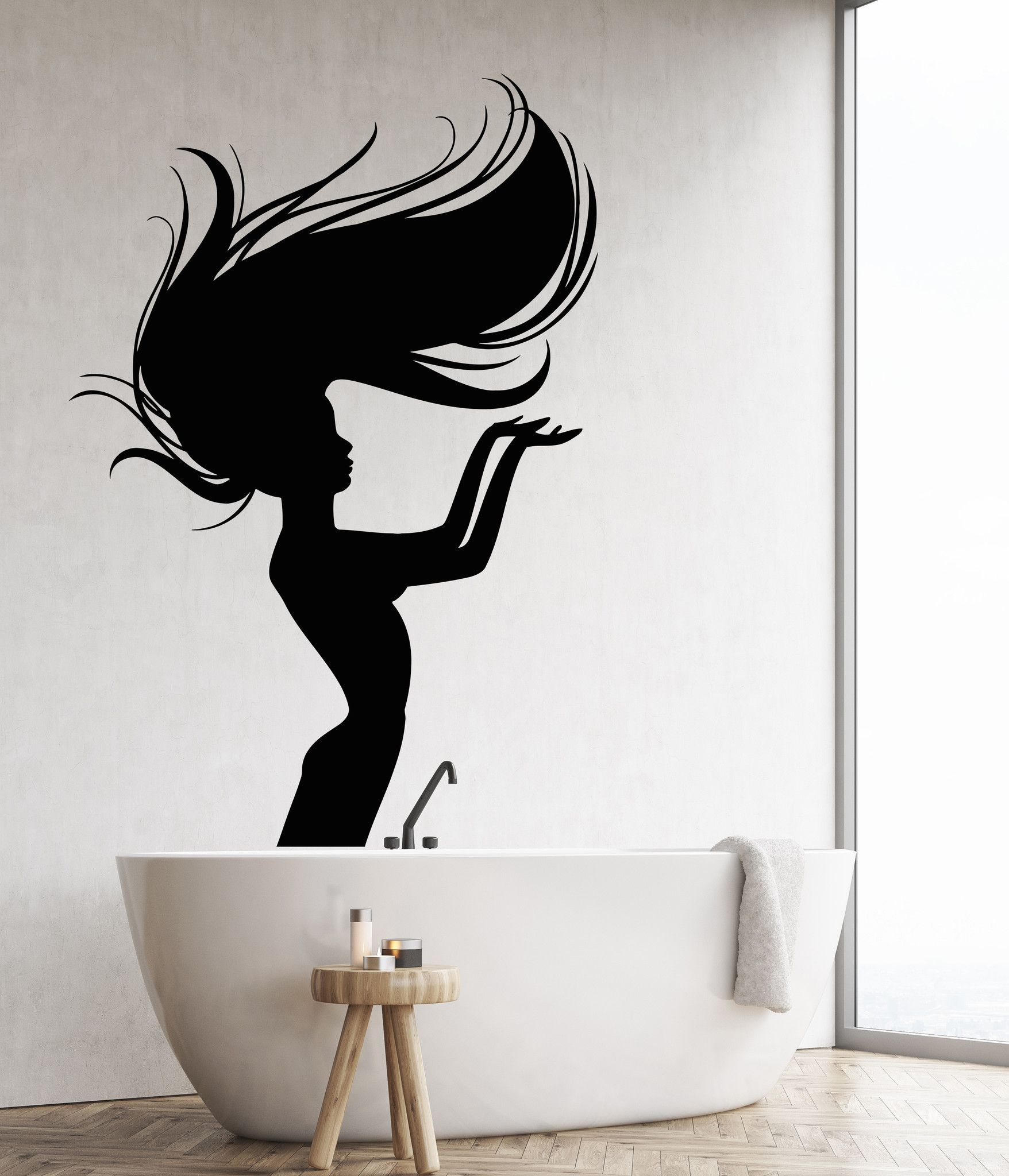 Vinyl Wall Decal Naked Girl Mermaid Nymph Art Decor For