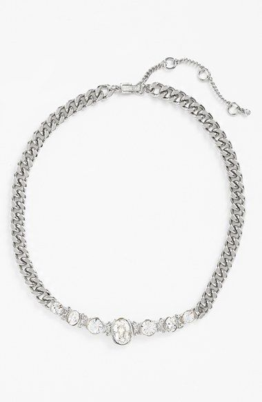 Women's Givenchy Crystal Curb Link Frontal Necklace - Silver/ Crystal