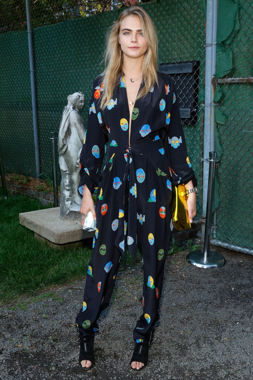 a5a4f872b68ecb Cara Delevingne in Stella McCartney pajamas and black peep-toe booties.