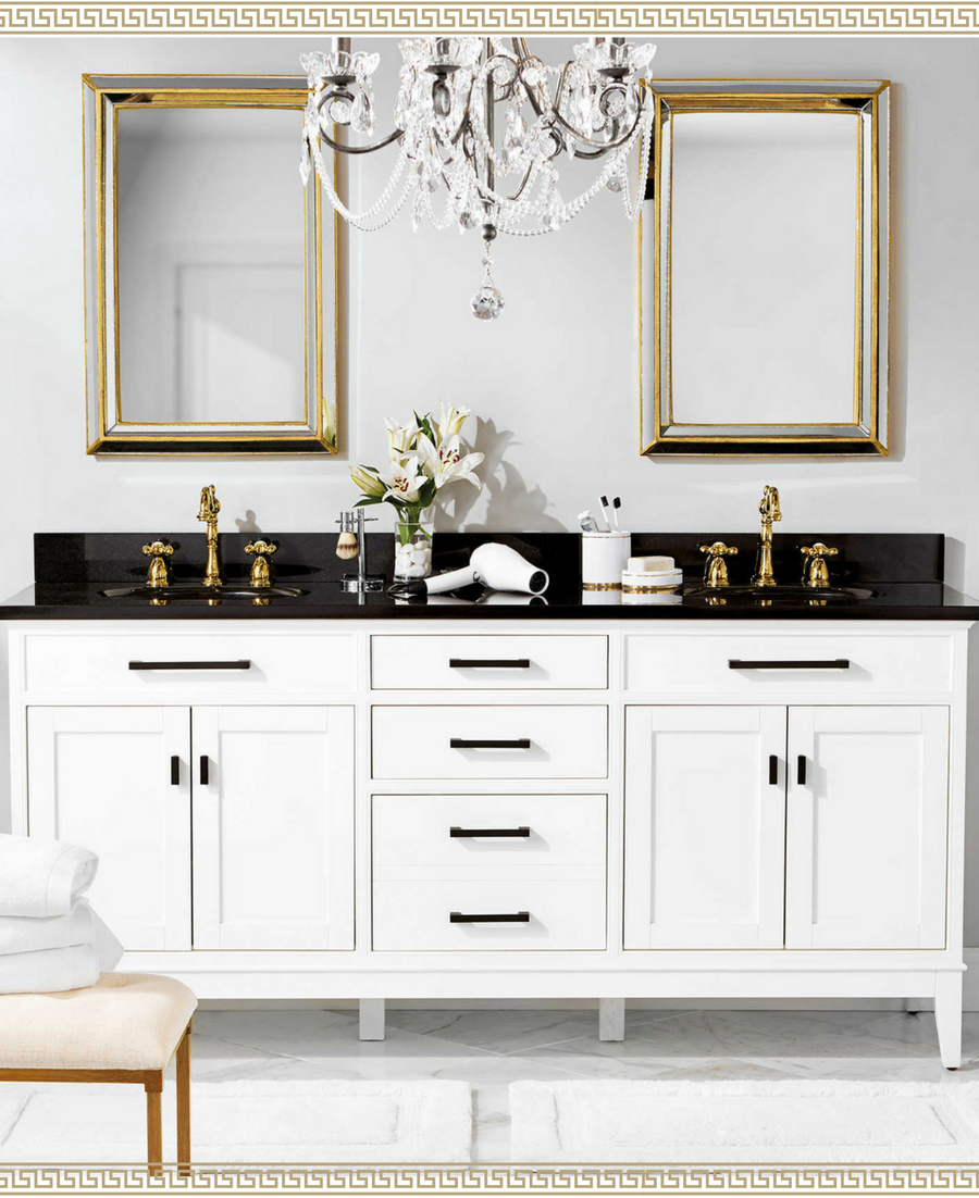 Wow I Love This Black White And Gold Bathroom Vanity The Glam Chandelier Is A Great Touch Ad Blue Bathroom Decor White Bathroom Decor Bathroom Trends