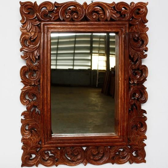 Mirror Vine And Leaf Wood Framed Brown Stain Wax Finish Hand Carved