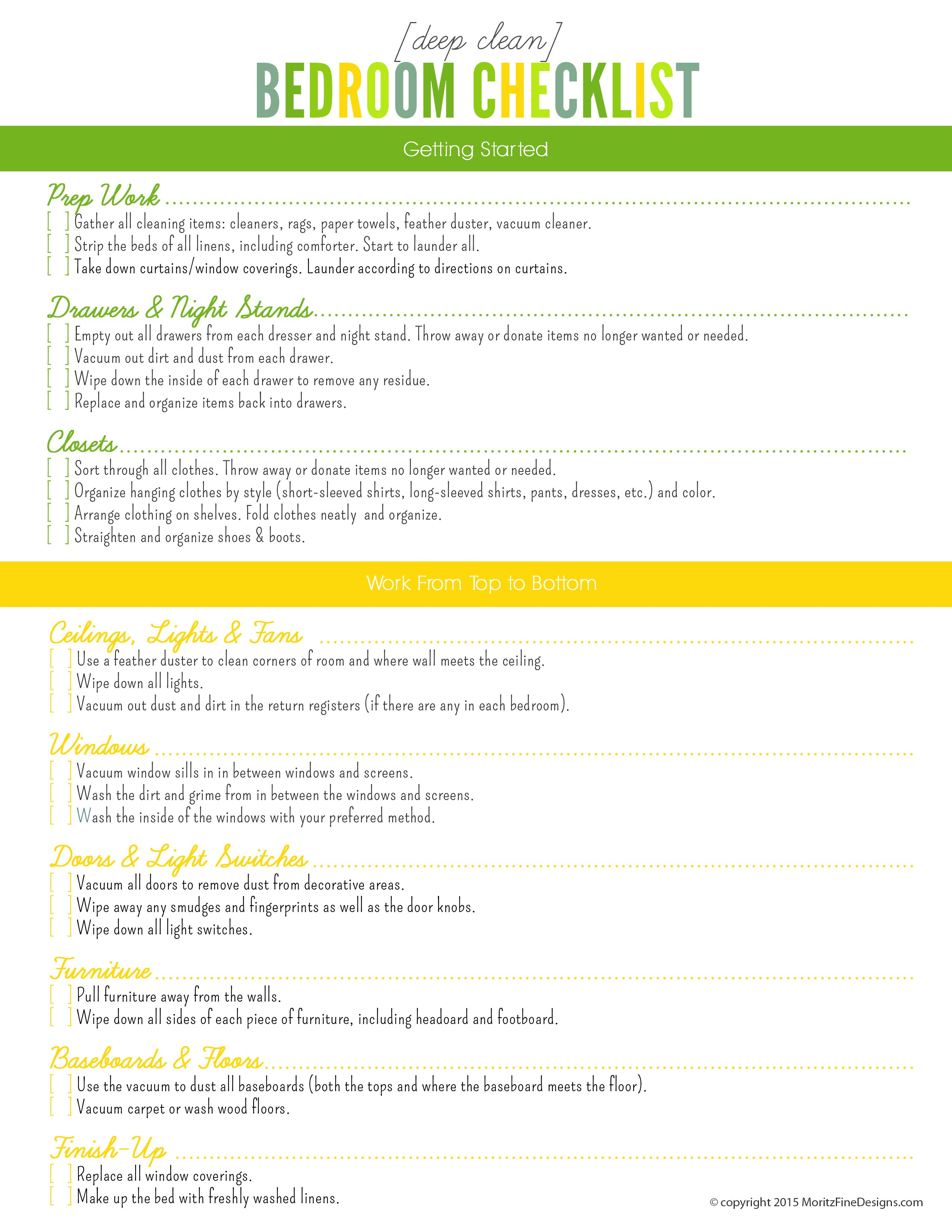 cleaning checklist by room